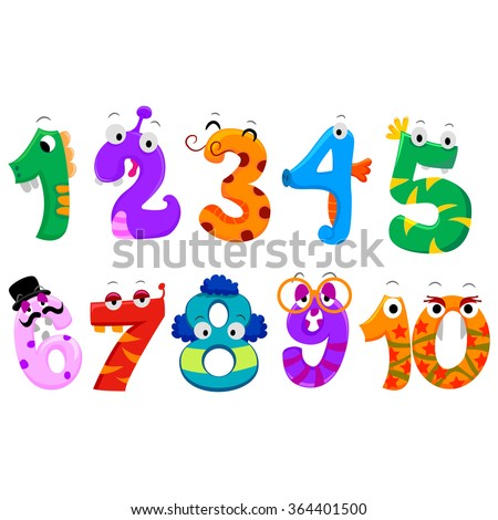 Vector Illustration of Set of Numbers Monster - stock vector