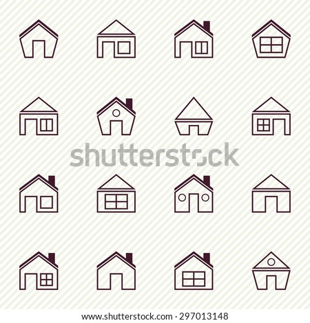 Vector illustration of set of outlined house icons