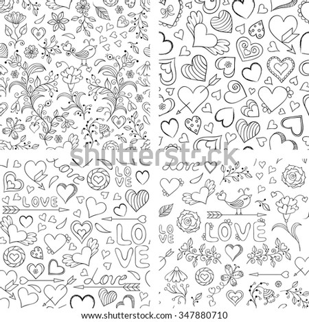 Vector illustration of set of  seamless patterns with hearts, flowers and other elements - stock vector