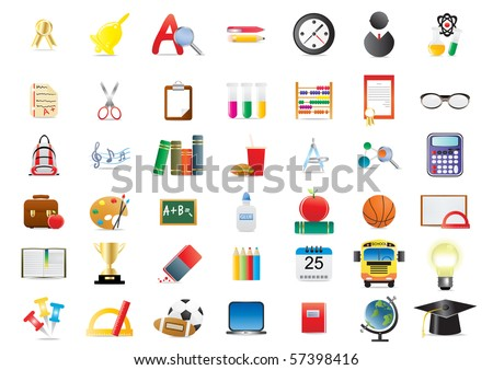 Vector illustration of set of several school icons - stock vector