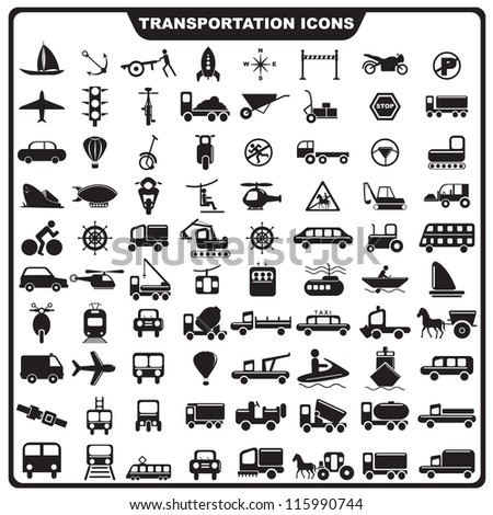 vector illustration of set of Transportation icon against isolated background - stock vector