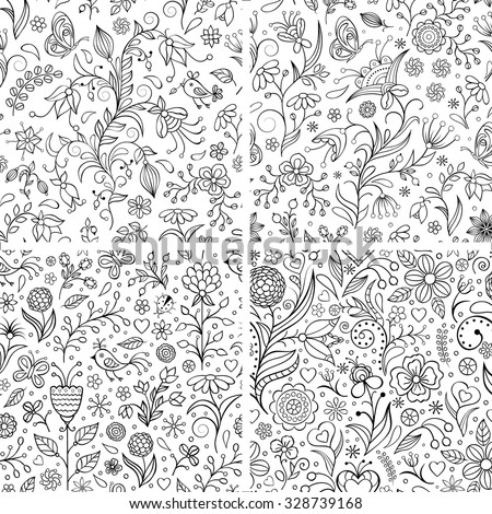 Vector illustration of set with floral patterns.Floral backgrounds. - stock vector