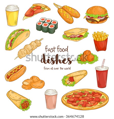 vector illustration of set with isolated cartoon hand drawn fast food dishes.
