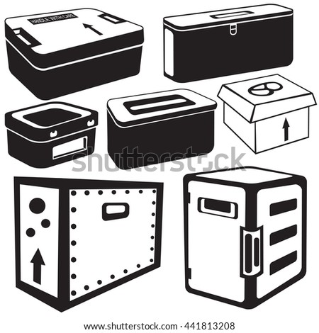 Vector illustration of seven different transport box black icons for different purposes. - stock vector
