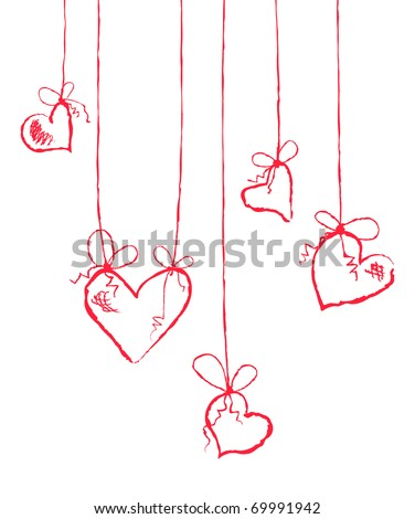 Vector illustration of several hearts hanging - stock vector