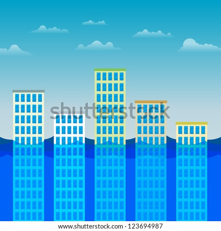 Vector illustration of several office buildings partially submerged by water.