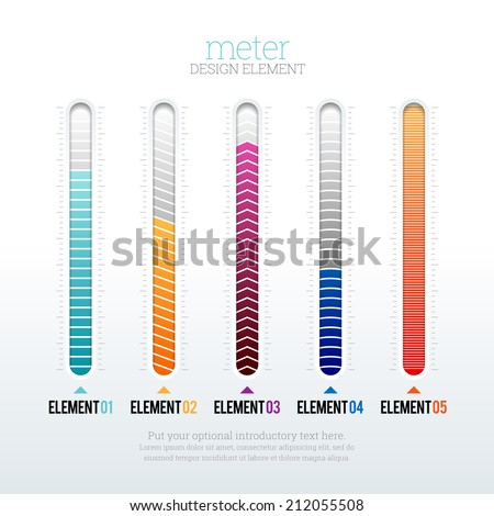 Vector illustration of several options of meter design elements. - stock vector