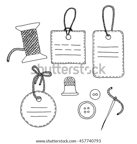 Vector illustration of sewing tools and tags. Hand drawn elements for your design, logo, emblems, banners, cards, flyers, postcards
