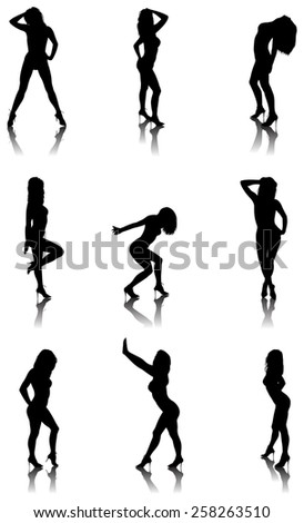 Vector illustration of sexy girl's silhouettes. - stock vector