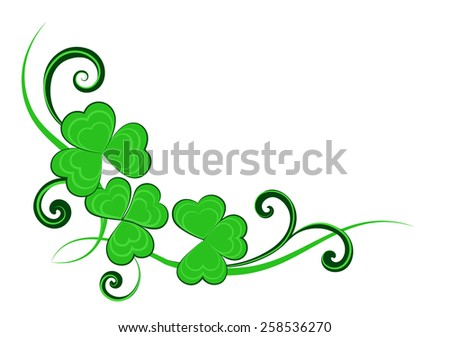 Vector illustration of shamrock (three-leaf clover) leaves and swirls, for St. Patrick's day or summer holiday cards and invitations. - stock vector