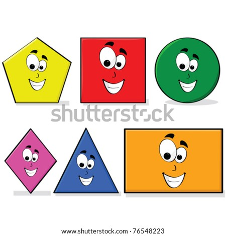 Vector illustration of shapes in different colors with a happy cartoon face, great for kids learning basic geometry - stock vector