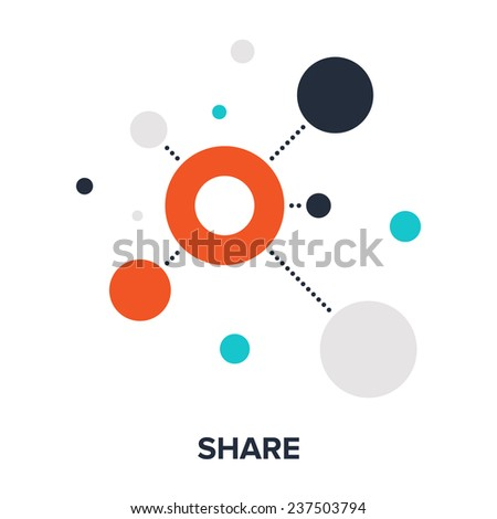 Vector illustration of share flat design concept. - stock vector