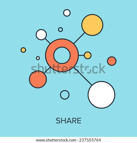 Vector illustration of share flat line design concept. - stock vector