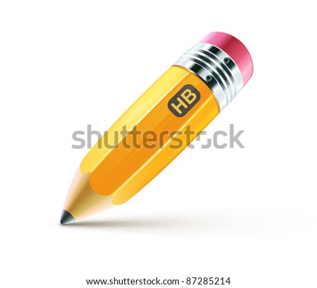 Vector illustration of sharpened fat yellow pencil isolated on white background - stock vector