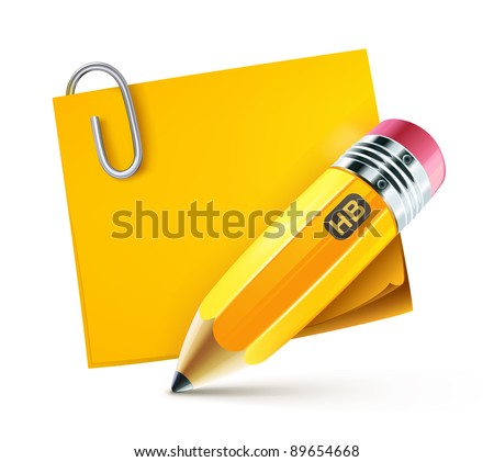Vector illustration of sharpened fat yellow pencil with pad - stock vector