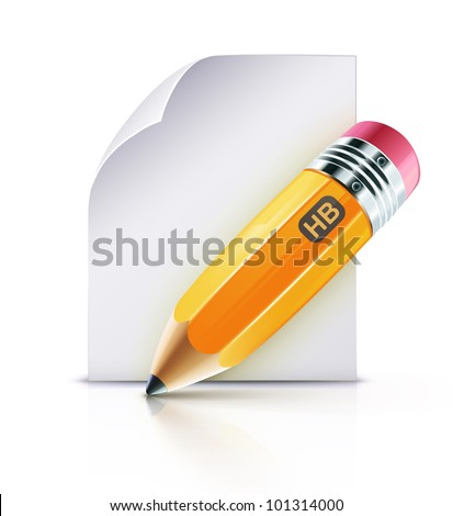 Vector illustration of sharpened fat yellow pencil with paper page - stock vector