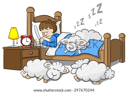 vector illustration of sheep fall asleep on the bed of a sleeping man - stock vector