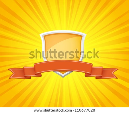 Vector illustration of shield with red ribbon for message on sunrays background - stock vector