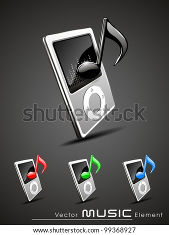 Vector illustration of shining grey music player icons set in  red, blue and green colors. EPS 10. Isolated on grey background.