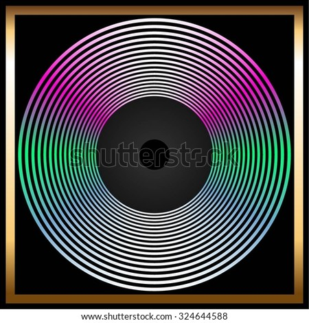Vector illustration of Shiny, bright disk on a black background in a gold frame. - stock vector