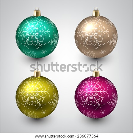 Vector illustration of shiny christmas balls. Winter decoration.   - stock vector