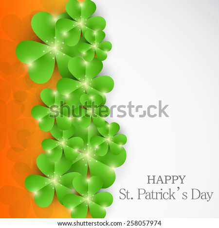 Vector illustration of shiny clover for Happy St. Patrick's Day. - stock vector