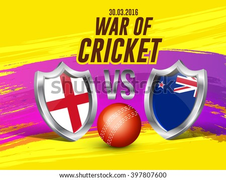 Vector illustration of shiny cricket ball and shield of different participating cricket countries with yellow background. - stock vector
