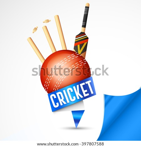 Vector illustration of shiny cricket ball with paper curve background. - stock vector