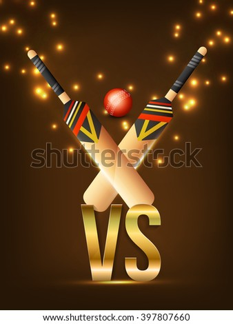 Vector illustration of shiny cricket bat of different participating cricket countries with golden background. - stock vector