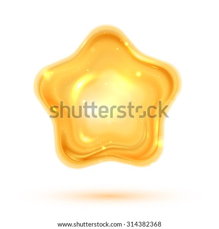 Vector illustration of shiny 3d star eps 10 - stock vector