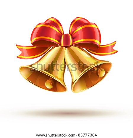 Vector illustration of shiny golden Christmas bells decorated with red bow - stock vector