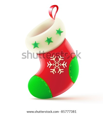Vector illustration of shiny red Christmas stocking waiting for Santa - stock vector