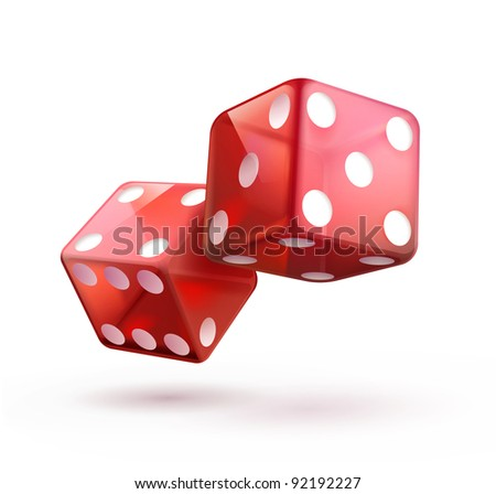 Vector illustration of shiny red dices on the white  background. - stock vector
