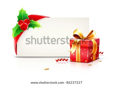 Vector illustration of shiny red gift ribbon wrapped around a rectangle like a present or letter with Christmas elements