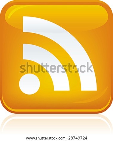 Vector illustration of shiny RSS icon. Only global colors. CMYK. Easy color changes. - stock vector