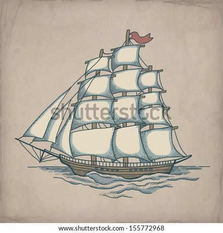 Vector illustration of ship  - stock vector