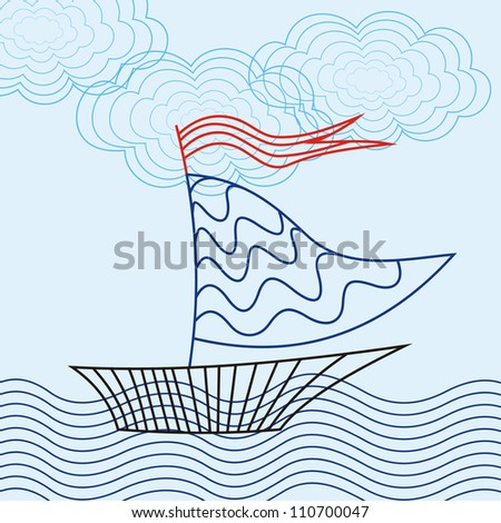 Vector illustration of ship and sea