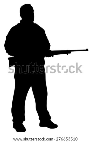 Vector illustration of shooter silhouette - stock vector