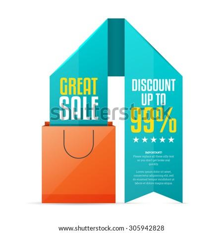 Vector illustration of shopping bag ribbon copyspace design element. - stock vector