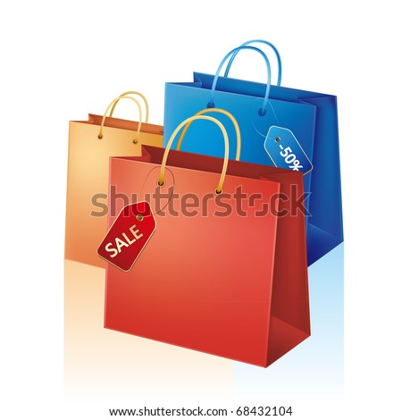 vector illustration of shopping bag with sale tag - stock vector