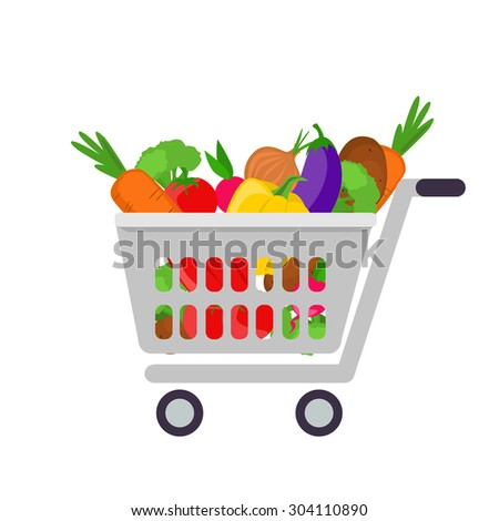 Vector illustration of shopping basket with vegetables. Shopping cart with fresh food. Healthy food illustration