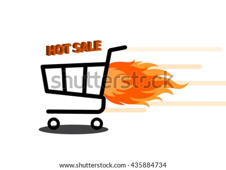 Vector illustration of shopping cart with flame. Fire labels set. Hot Sale. - stock vector