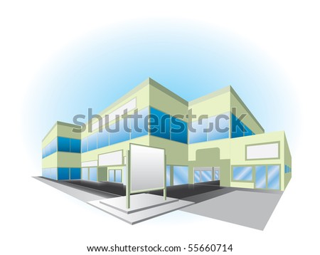 Vector illustration of shopping center building - stock vector
