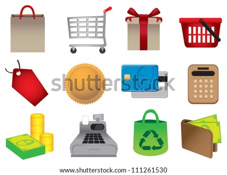 Vector illustration of Shopping Icons. - stock vector