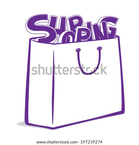 Vector illustration of shopping text in paper bag. Isolated on white background - stock vector