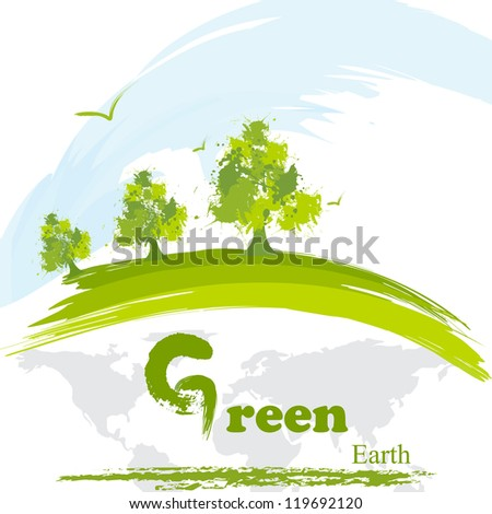 vector illustration of showing green environment - stock vector