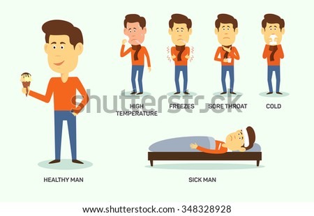 Vector illustration of sick and healthy man with ice-cream.  Symptom of high temperature, freeze, sore thoat, cold. - stock vector