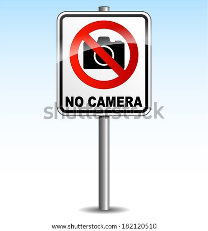 vector illustration of signboard for no camera on sky background