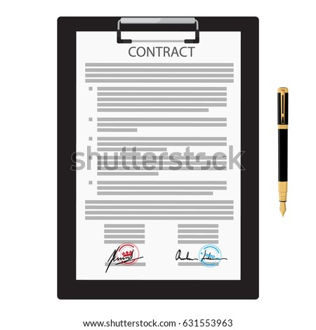 Vector Illustration Signed Business Contract Agreement Stock