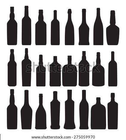 Vector Illustration of Silhouette Alcohol Bottle EPS10 - stock vector